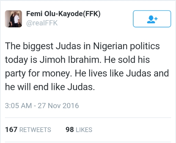 Image result for femi fani-kayode judas tweet