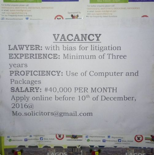 N40,000 For A Lawyer with three years Experience in this present Economic Recession?  What A Sorry State