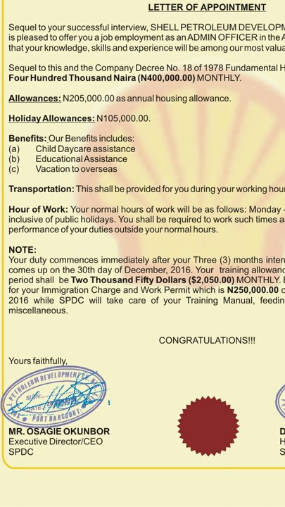 Help About Shell Appointment Letter  JobsVacancies  Nigeria