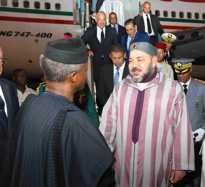 King Mohammed Of Morocco Arrives Nigeria, Received By Osinbajo (photos)