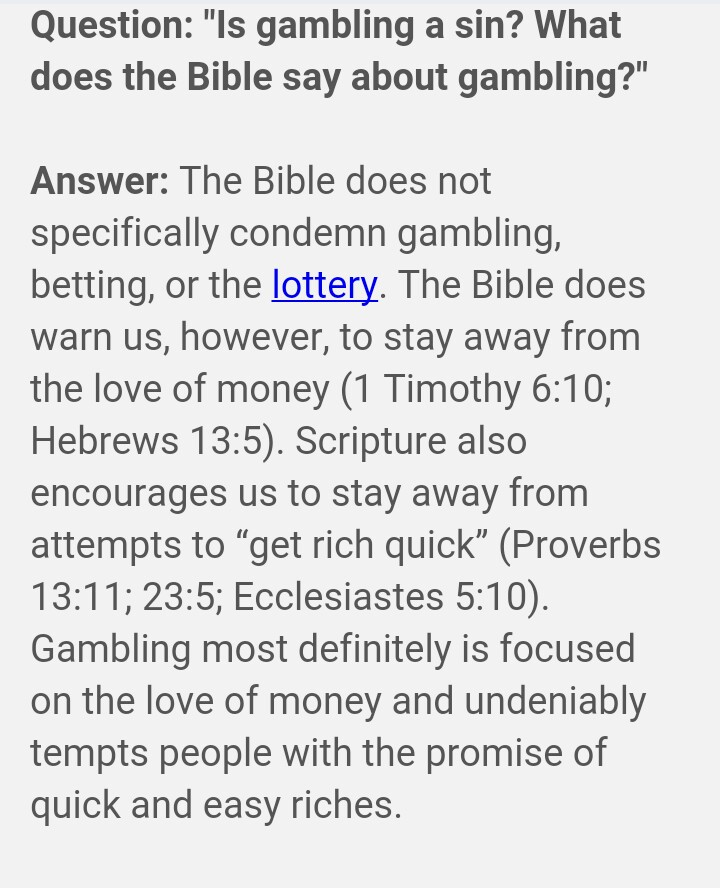 Gambling sinful in the bible biggest win at roulette