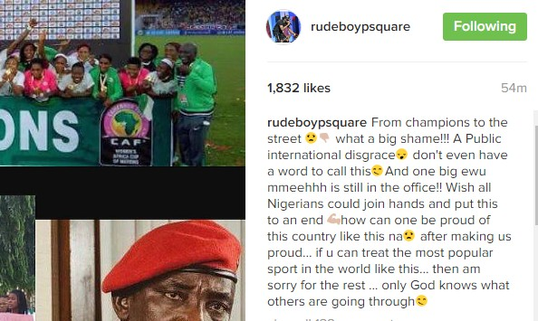 "Paul Okoye On Super Falcons: ""From Champions To The Street, What A Big Shame!!"""