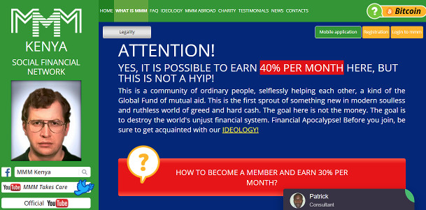 MMM Runs To Kenya After Scamming Nigerians. Promises 40% Per Month