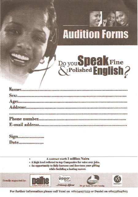 Audition To Become A Voice Over Artiste TVMovies Nigeria – Audition Form