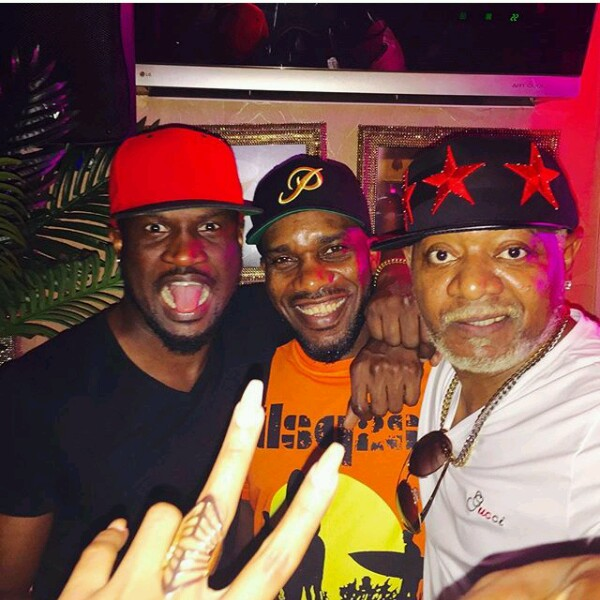 Awilo Longomba With Peter Okoye & Okocha As He Hangouts With Them In Lagos