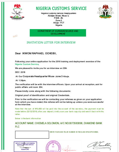Ncs Invitation Letter interview Letter JobsVacancies Nigeria