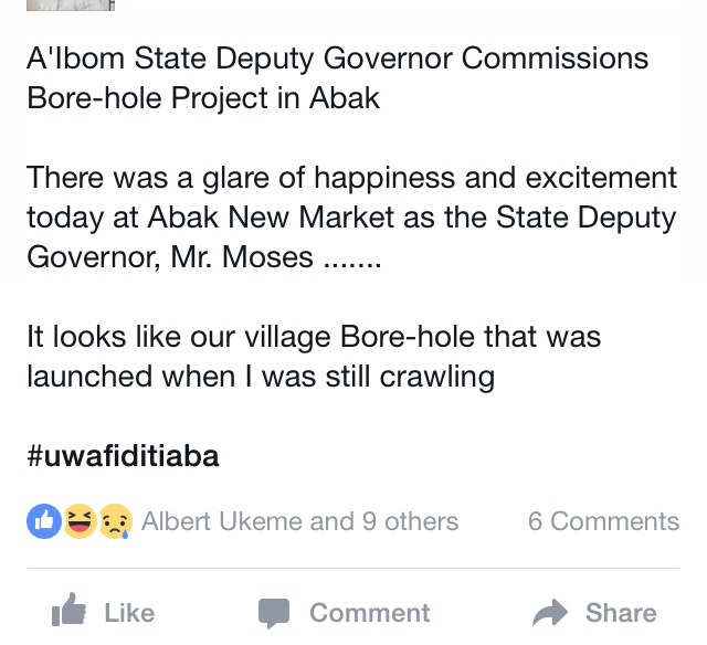 Akwa Ibom Deputy Governor Commissions Borehole (Photos)