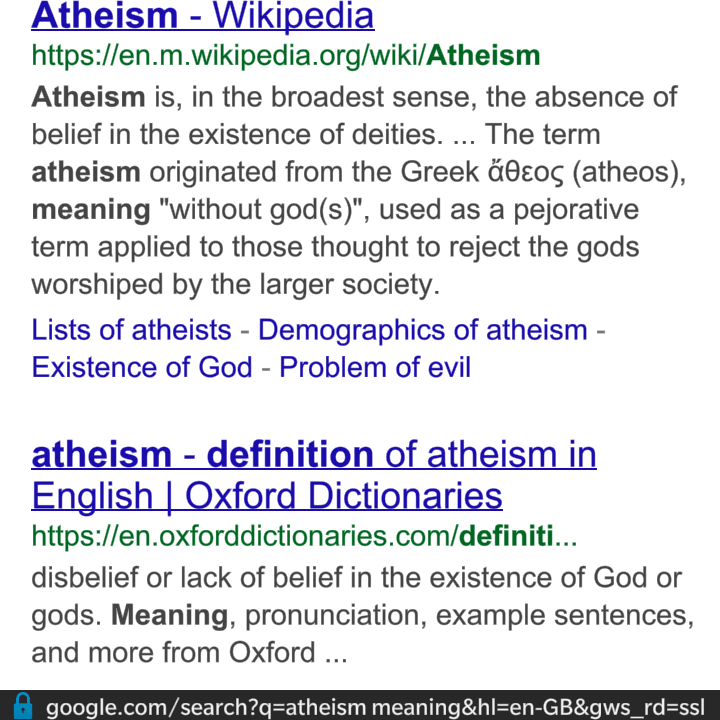atheism the beliefs in the absence An atheist isn't a religion its just a group name for people with no religion atheists have the freedom to believe what it is the absence of belief in the.
