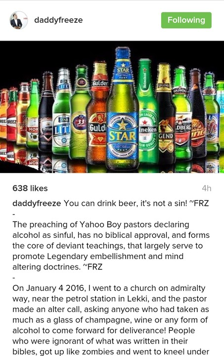 """Yahoo Boy Pastors Who Say Drinking Beer Is A Sin Are Liars"" – OAP Freeze"