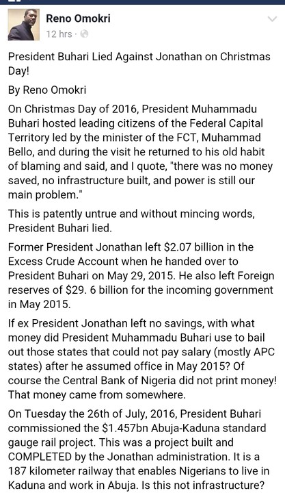 """President Buhari Lied Against Jonathan On Christmas Day!"" – Reno Omokri"