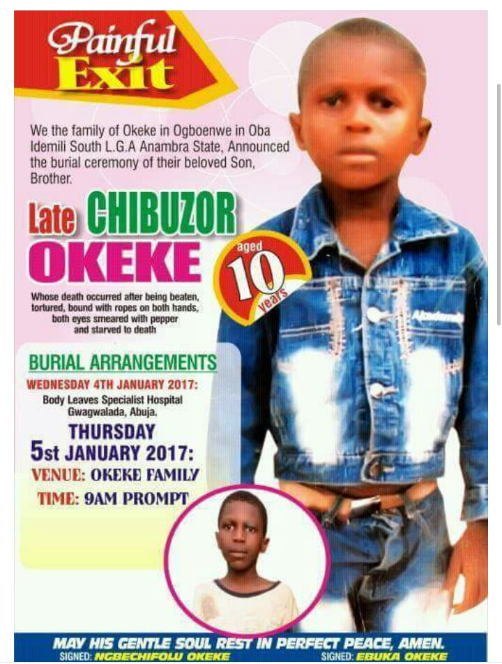Obituary Poster Of A 10-Year-Old Boy Beaten, Tortured And Starved To Death