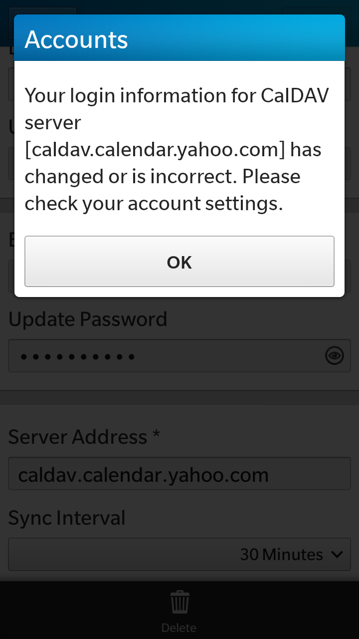 updating email password on blackberry