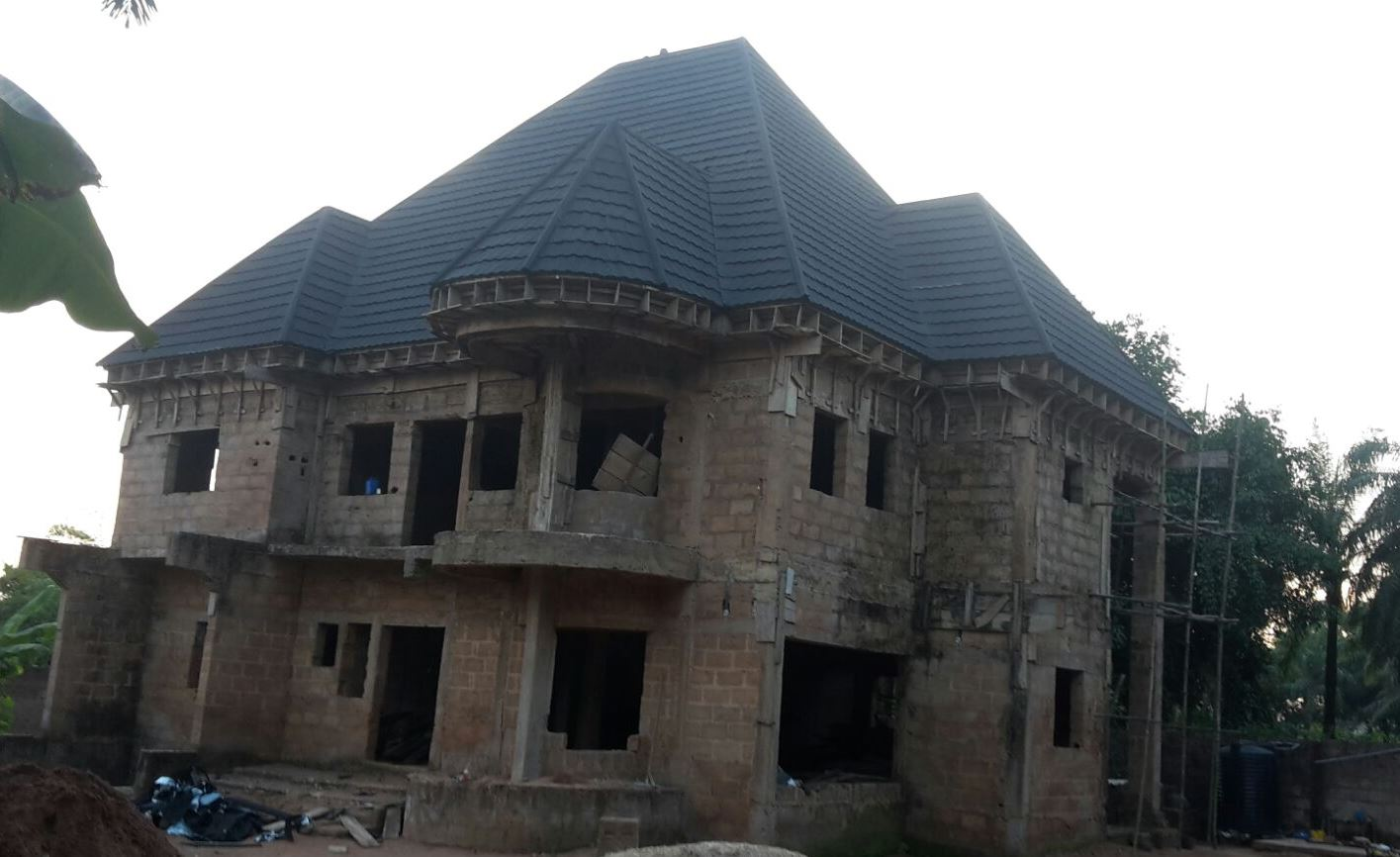 Check out picture of the wood work for stone coated and aluminum roofing properties nigeria