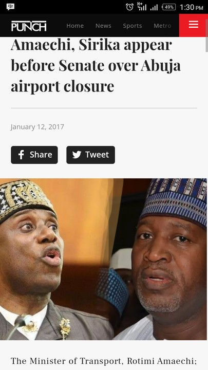 Ministers, Amaechi And Sirika Appear Before Senate Over Abuja Airport Closure