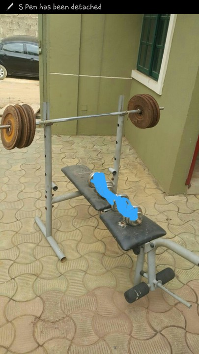 Sold Used American Fitness Weight Bench And Barbell For Sale