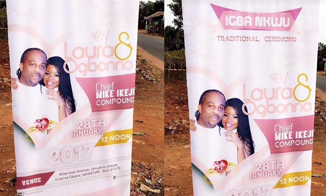 laura ikeji and ogbonna kanuu0027s traditional wedding banners spotted in nkwerre celebrities nigeria