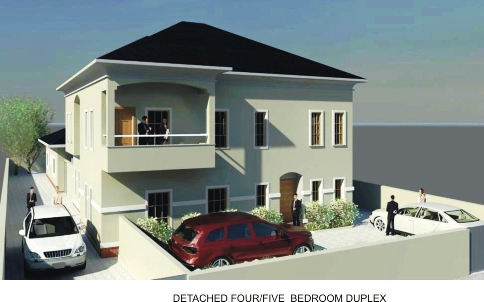 This is a simple detached 5bedroom duplex with long projected windows and a spacious terrace this type of building sited on a standard plot of land