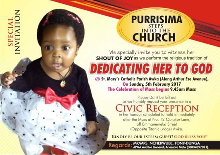 Mr Mrs Nchekwube S Child Dedication