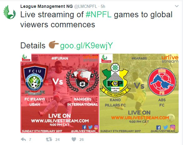GOOD NEWS: Live Streaming Of NPFL Games To Global Viewers Starts On Sunday