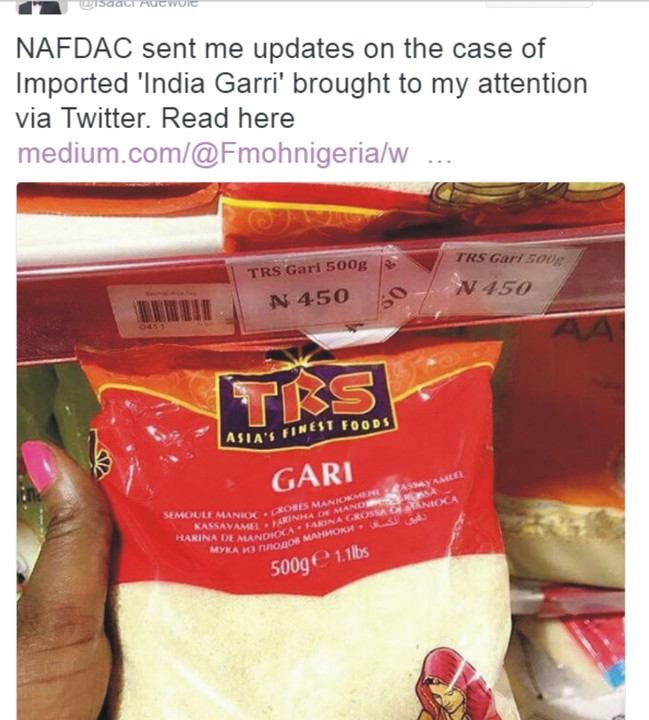 Update On Imported 'india Garri': Health Minister Now Aware & Taken Actions - Food