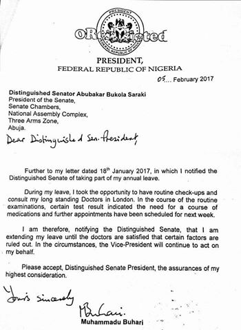 Senate reads buharis letter for extension of vacation see letter 5 requesting an extension of his vacation to further finish up some medical checkups the president of the senate dr bukola saraki read the letter at the thecheapjerseys Choice Image