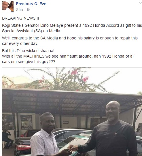 Senator Dino Melaye Buys His Special Assistant A Very Old Honda Accord As People React (Pics)