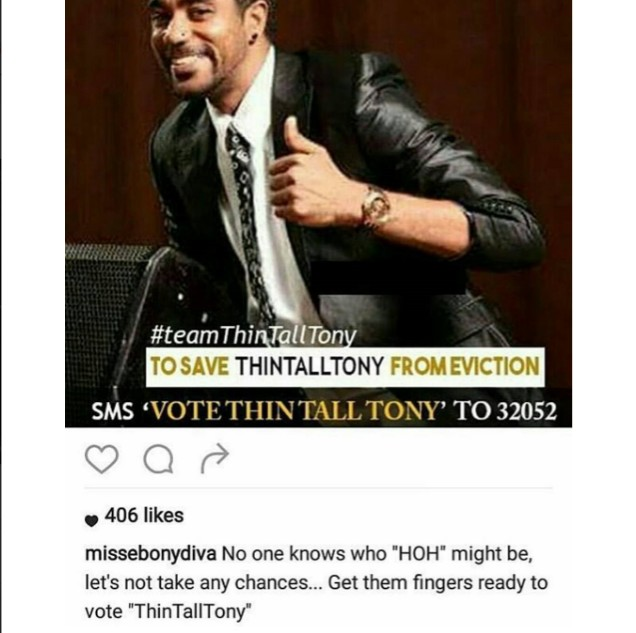 #BBNaija: Thin Tall Tony's Wife Still Soliciting For Votes Amid Meltdown