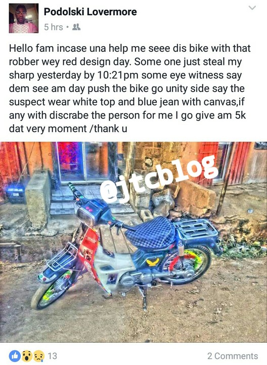 Man Cries Out As His Newly Purchased Bike Was Stolen In Front Of His Shop (pics)