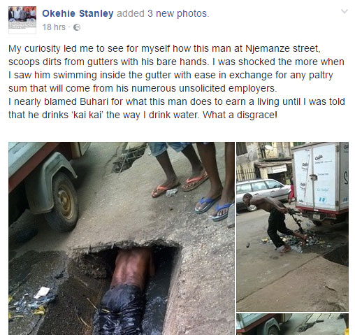 Man Swims Inside Gutter In Owerri, Scoops Dirts With Bare Hands