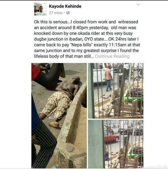 Dead Body Found In Ibadan At The Same Spot 24 Hours After An Accident (Graphic)
