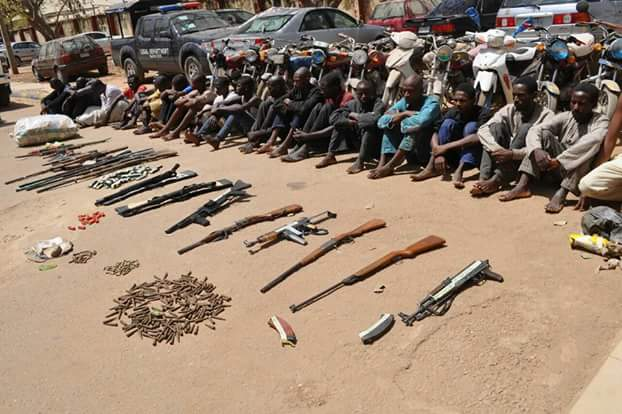 See The Faces Of Criminals Arrested By Bauchi Police & Weapons Recovered(pics)