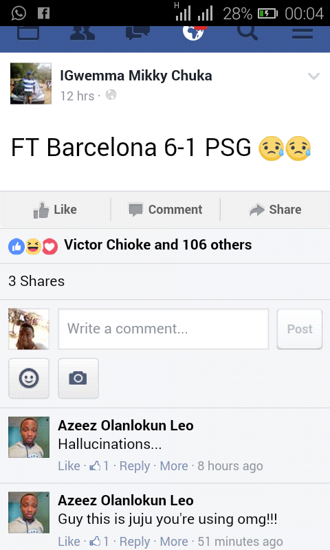 This Guy Predicted Barca & PSG Match On Facebook (Pictures