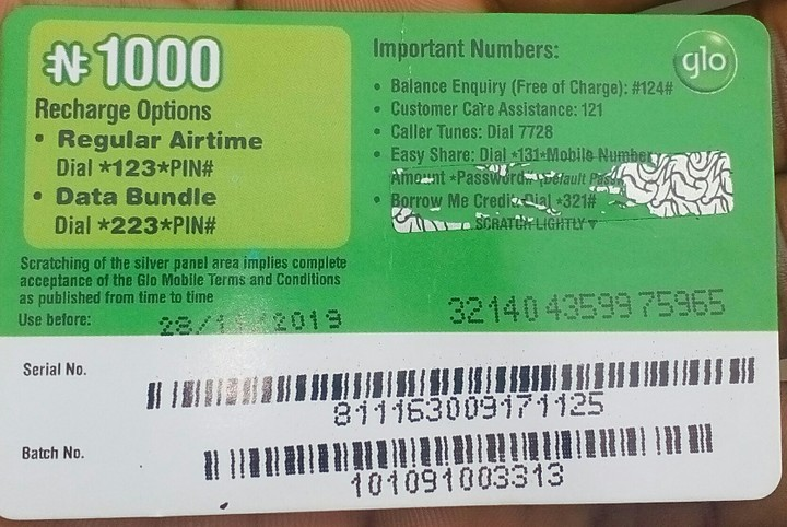 See The Glo Card I Just Bought Now, Can You Spot The Give