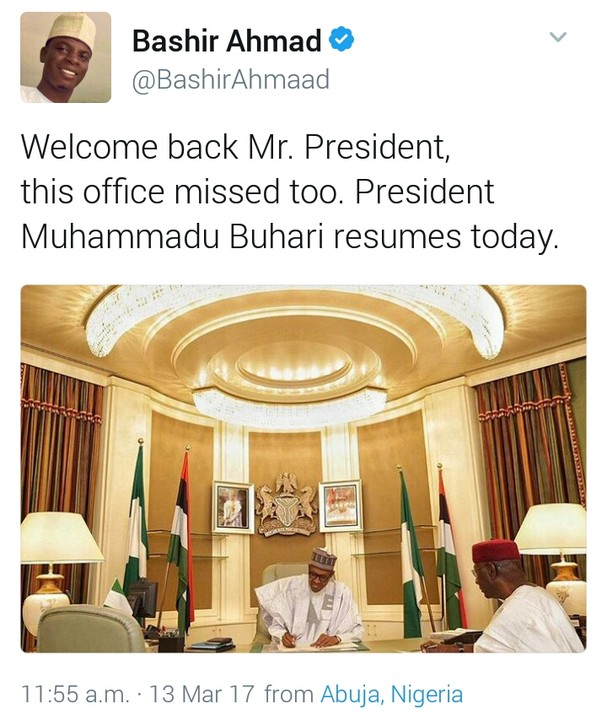 photos of president buhari as he resumes work today