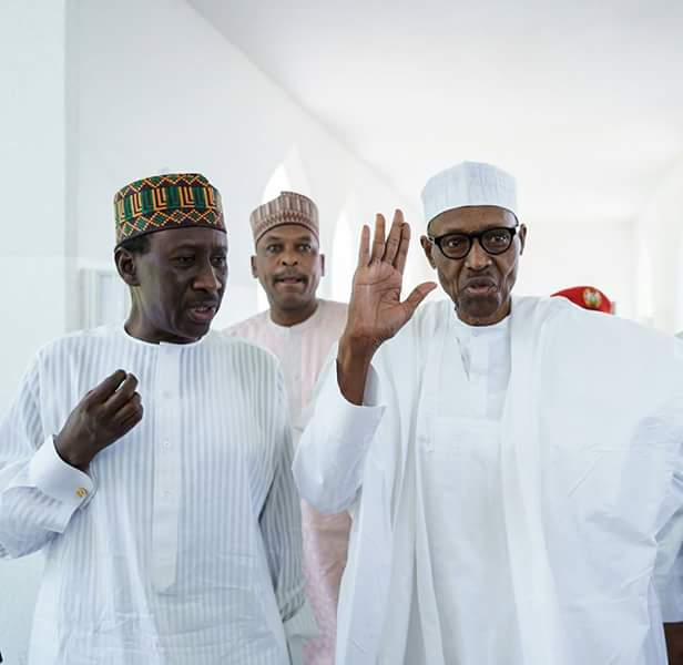 Image result for President Buhari attends Friday prayers today