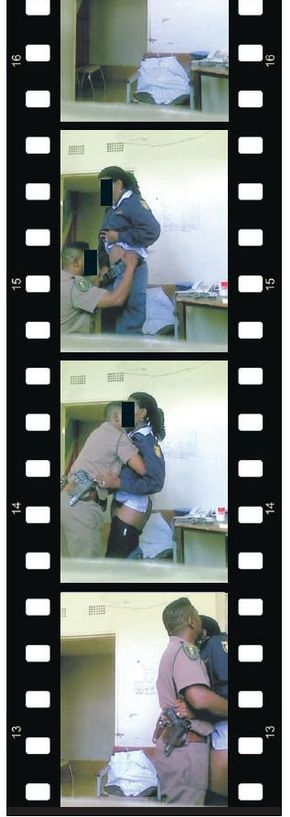 south african police having romantic on duty