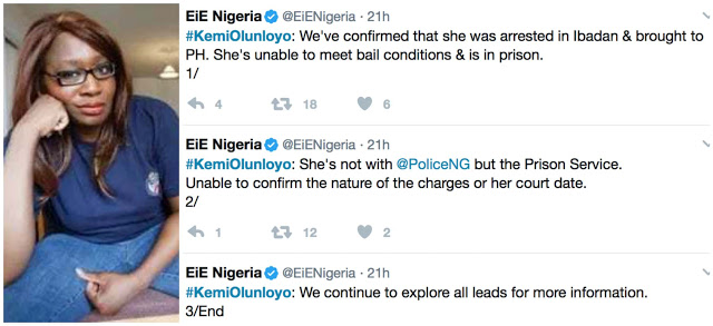 ''Kemi Olunloyo Is Unable To Meet Bail Conditions, Still In Prison'' - EIE Group