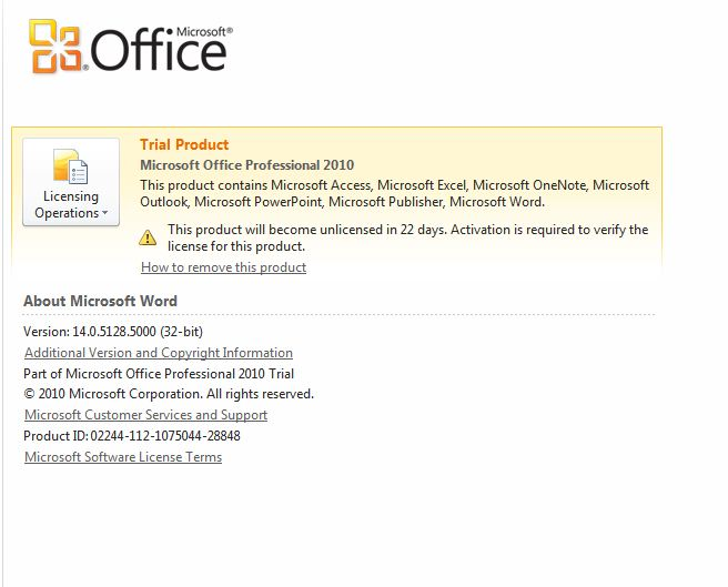 office 2010 trial activation key