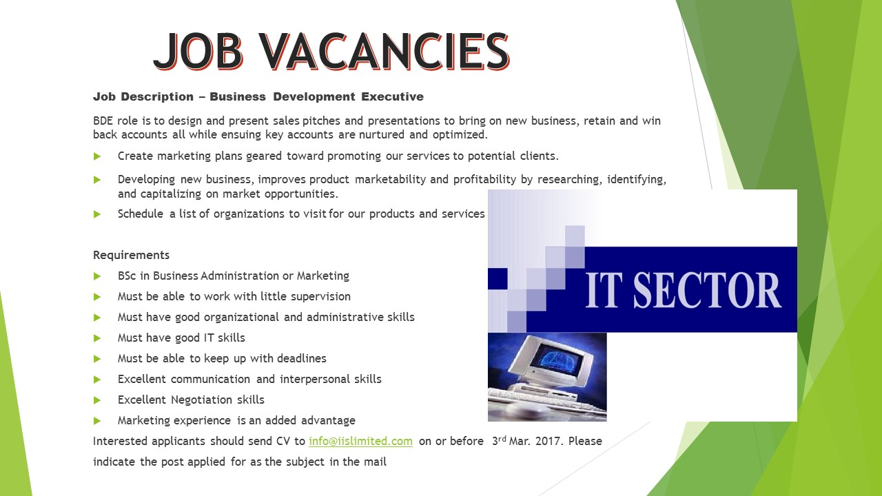 Vacancy Vacancy Business Development Executive Jobs Vacancies