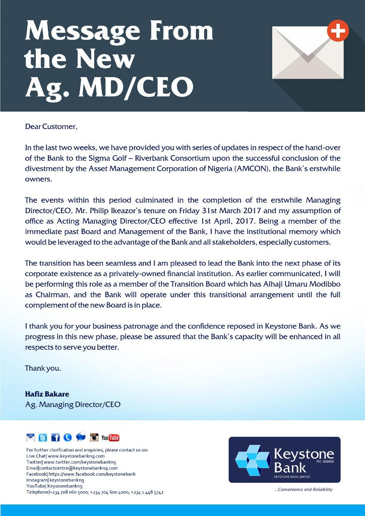 Keystone Bank Appoints Hafiz Bakare Acting CEO As It Prepares For Change Of Name - Brand Spur