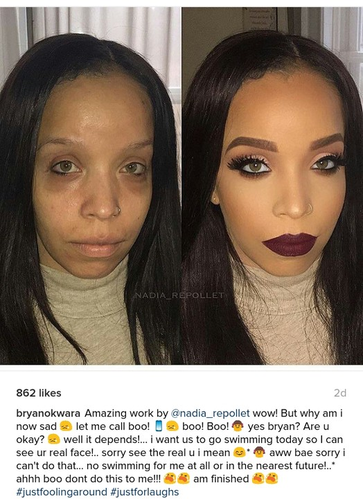 Shocking Before And After Makeup Photos Of A Hazel Eyed Lady