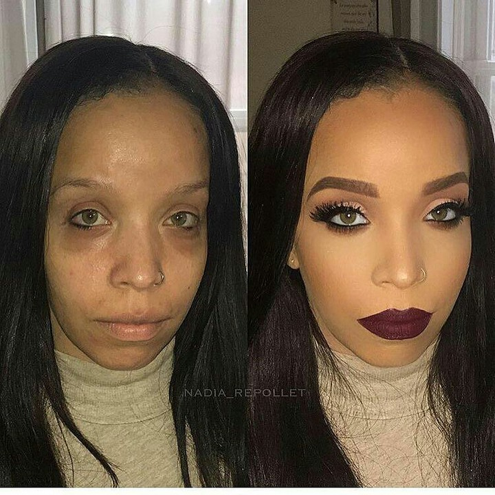 Shocking Before And After Makeup Photos Of A Hazel-eyed Lady ...
