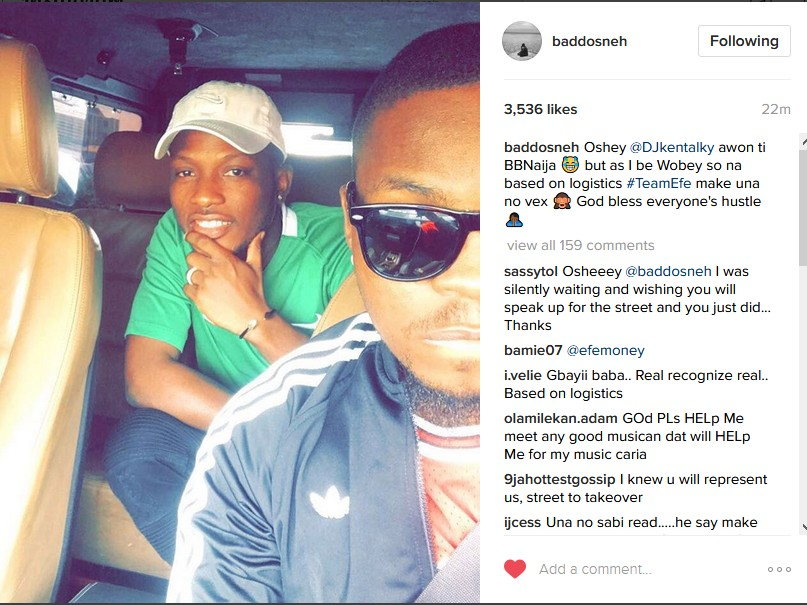 BBNaija: Olamide Shows Support For Efe - 9jaflaver