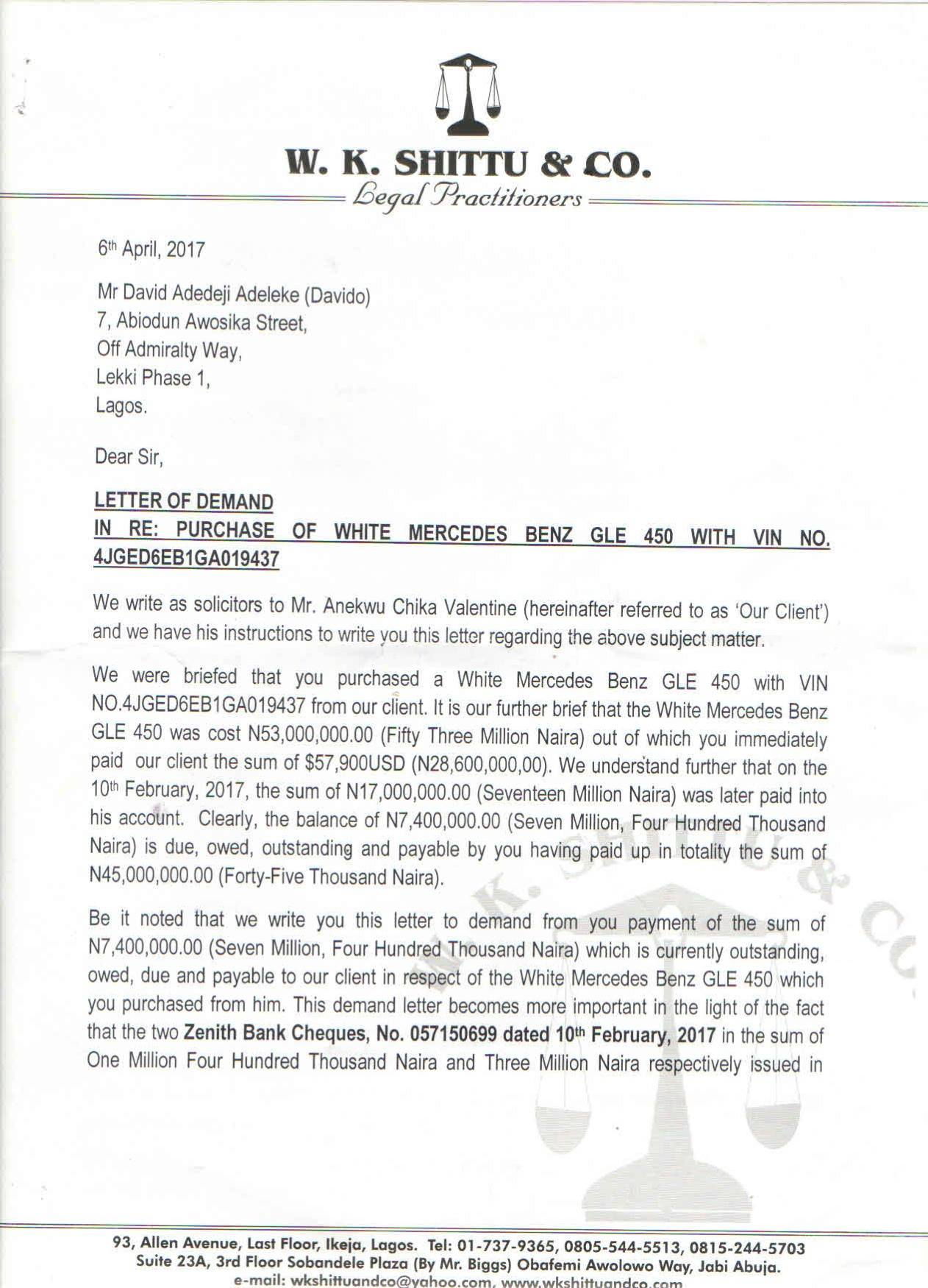 Lawyer to car dealer gives davido seven days ultimatum over dud 1 like 1 share aljukfo Image collections