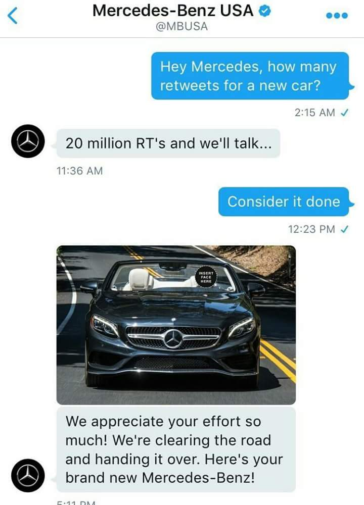 Funny chat between mercedes benz and a twitter user photo for Mercedes benz chat