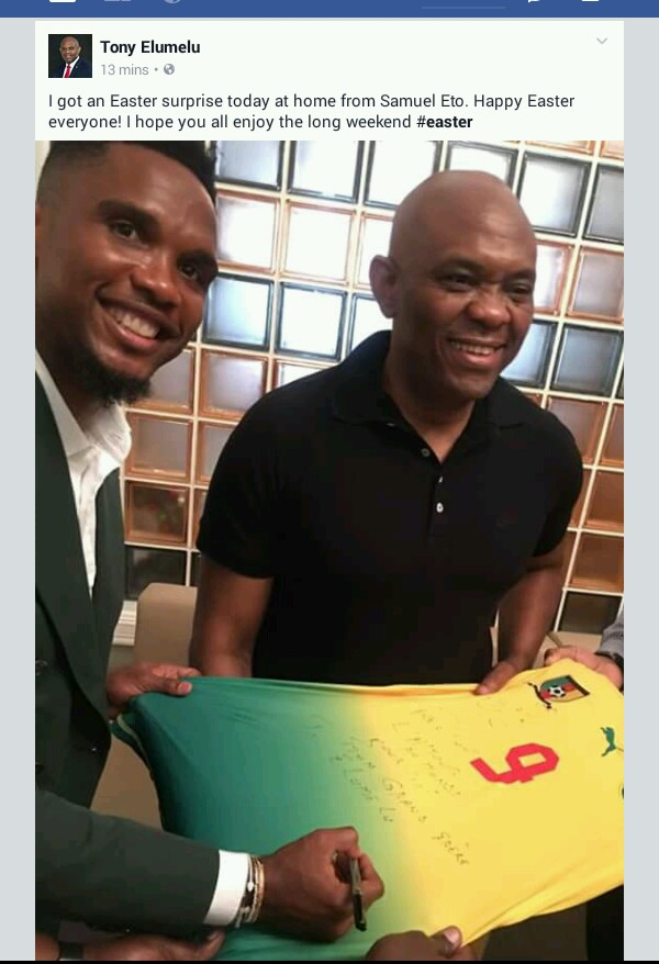 Samuel etoos easter gift to tony elumelu as he visits him 3 likes 1 share negle Choice Image