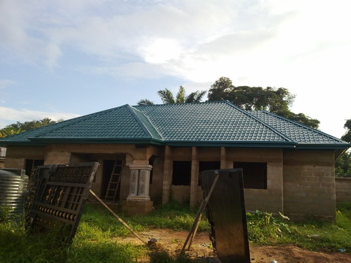 Roofing a 4 bedroom bungalow with gatehouse pictures Bungalow house with attic design