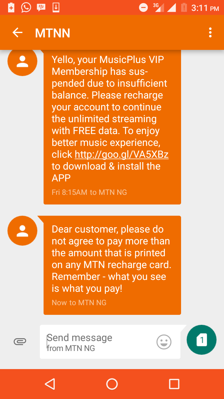 MTN's Message On Payment For Recharge Cards - Phones