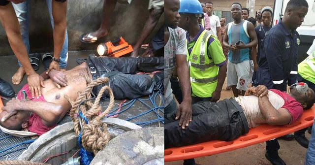 Image result for Photo: Man who tried committing suicide by jumping into a well in Lagos rescued