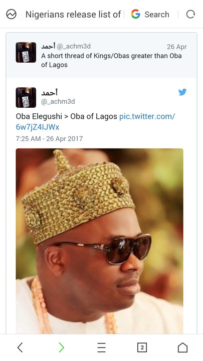 "Nigerians Release List Of ""Kings Greater Than The Oba Of Lagos"